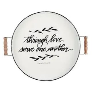 Serve One Another Enamel Round Tray