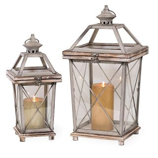 Wood, Metal, & Glass Lantern/Candle Holder