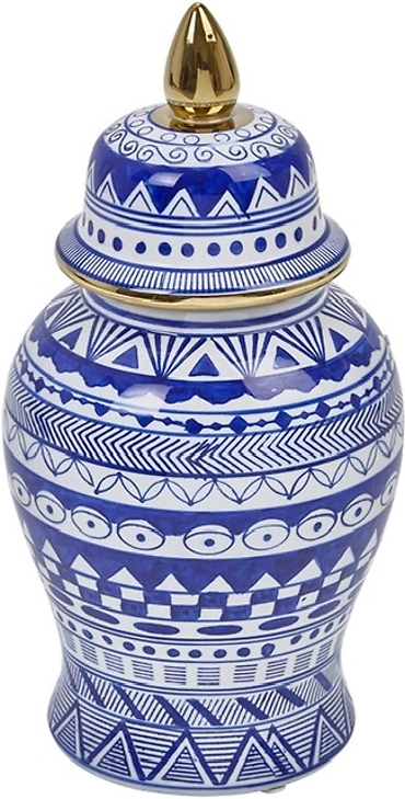 Ginger Jar with Gold Accent, Blue and White