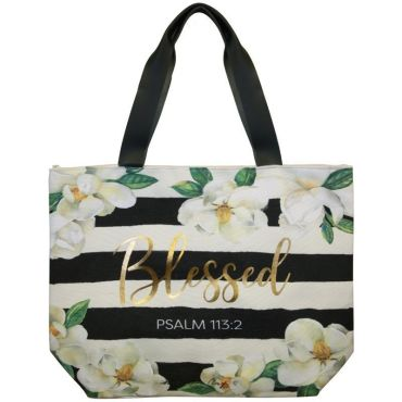 Blessed Magnolia Canvas Handbag