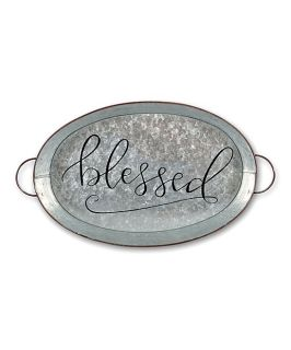 \'Blessed\' Metal Tray Magnolia Lane